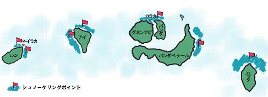 ハッタ島周辺シュノーケリングマップ