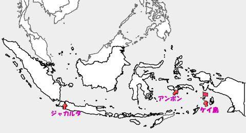 インドネシアの地図:ジャカルタ、アンボン、ケイの位置関係