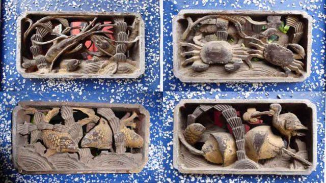 金門島の民宿鳳毛麟趾の外壁の彫刻