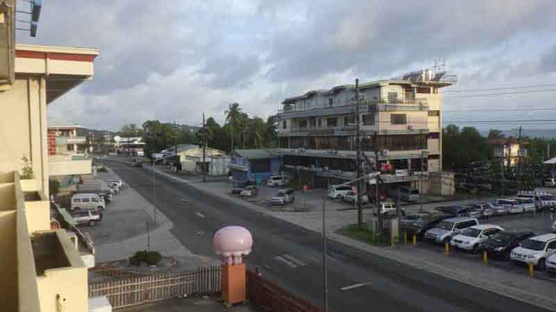 コロール島のホテルの窓からの眺め